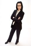 I'm in Charge. Casual corporate full body portrait of female executive smiling stock images