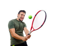 I,m different tennis player. A man hiting ball on white Royalty Free Stock Image