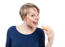I'm gonna eat you, little donut... Royalty Free Stock Photos
