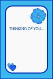 I& x27; m het denken aan u blauwe groetkaart Stock Foto