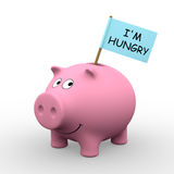 I'm hungry. Pink piggybank with I'm hungry written on a flag (3D rendering) - A clipping path is embedded to isolate the subject (no shadow stock illustration