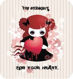 I'm hungry for your heart. Cartoon vampire girl with heart Stock Photos