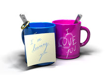 I'm leaving you - divorce concept. I'm leaving you written on a note fixed on a blue mug where it's written i love you Royalty Free Stock Image