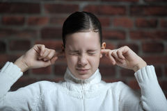 I m not listen. Teen girl does not want to listen stock image