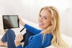 I'm paying my bills with credit card Royalty Free Stock Photos