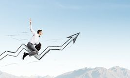 I'm reaching up to success! Stock Photography