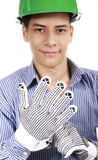 I'm ready for some fun. Young man with a helmet and gloves Royalty Free Stock Images