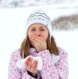 I'm Sick Again!. Winter sickness - woman having influenza, coughing Stock Photography