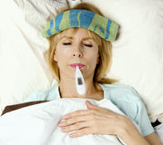 Im sick in bed! Stock Photo