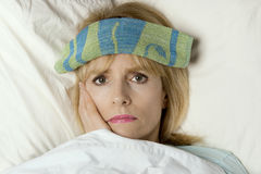 Im sick in bed! Stock Image