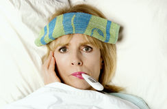 Im sick in bed! Royalty Free Stock Photography