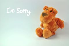 I'm Sorry. Dog stuffed toy with I'm sorry message Royalty Free Stock Images