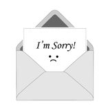 I'm sorry card. I'm sorry note coming out from gray / white envelope. sorry card Royalty Free Stock Photos