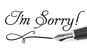 I`m sorry card. I`m sorry written with fountain pen royalty free illustration