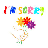 I'm Sorry Flowers Shows Apologise Remorse And Apologize. I'm Sorry Flowers Representing Floral Forgiveness And Apology Royalty Free Stock Image