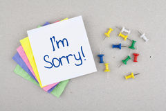 I'm Sorry Note Message Stock Photo