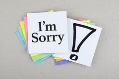 I'm Sorry Note Message Stock Image