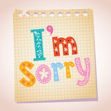 I'm sorry note pad paper illustration. I'm sorry note pad paper message Stock Images