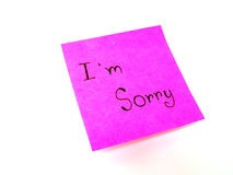 I'm sorry on post it note. I'm sorry in post it note on white background Stock Photos