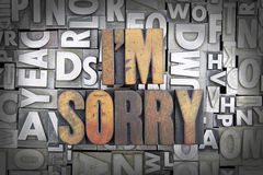 I'm Sorry. Written in vintage letterpress type Stock Photo