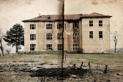 I'm Still Here. A creepy digital art creation of an old haunted building photo with an old book texture background. There are letters I'm still here written with Stock Photography