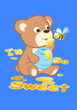 I'm so sweet. Vector illustration of a bear eating some honey with a bee Royalty Free Stock Images
