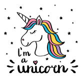 I m a unicorn handwriting text drawing isolated on white. Vector stock illustration