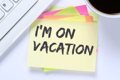 I`m on vacation travel traveling holiday holidays relax relaxed Royalty Free Stock Images