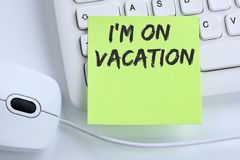 I`m on vacation travel traveling holiday holidays relax relaxed. Break free time business concept mouse computer keyboard Stock Photography
