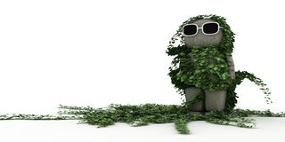 I'm waiting so long. 3d figure with glasses change into a statue with ivy Royalty Free Stock Images