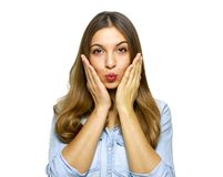 I`m waiting for your kiss! Close up portrait of beautiful cheerful woman wants to kiss you isolated on white background stock image