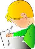 I'm writing to you. Sketch of a boy writing a letter Stock Images