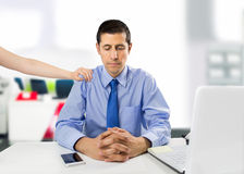 I m with you. Encouraging business woman clerk demotivated after a failure and discussion in the office stock photos