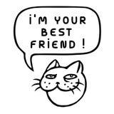 I`m Your Best Friend! Cartoon Cat Head. Speech Bubble. Vector Illustration. Royalty Free Stock Image