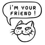 I`m Your Friend! Cartoon Cat Head. Speech Bubble. Vector Illustration. Royalty Free Stock Image