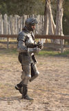 I made it out alive. A knight walks away after his battle at the Sherwood Forest Faire in McDade, Texas Royalty Free Stock Photography