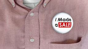 I Made a Sale Buttons Pins Selling Deal Salesman Royalty Free Stock Photography