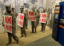 I Am A Man Statue Exhibit inside the National Civil Rights Museum at the Lorraine Motel Stock Photos