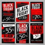 I manifesti di pubblicità di vendita di Black Friday vector il modello con il migliori prezzo ed offerta Immagine Stock Libera da Diritti