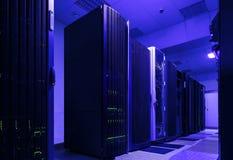 I mazzi del supercomputer nella sala di modren il centro dati Immagini Stock Libere da Diritti