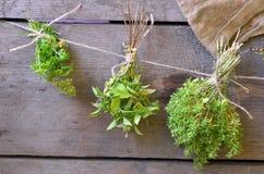 I mazzi di erbe su fondo di legno Fotografie Stock Libere da Diritti