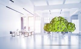 I meccanismi come simbolo del collegamento e dell'interazione senza fili hanno presentato sul fondo bianco dell'ufficio Immagine Stock