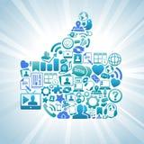 I media sociali gradicono i pollici sul blu Fotografie Stock Libere da Diritti