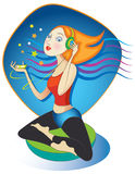 I-Meditation. Vector illustration of woman in the yoga lotus position, listening to guided meditation or new-age music on her mp3 player Stock Images