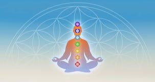 I meditation med chakras Fotografering för Bildbyråer