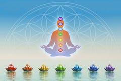 I meditation med chakras Royaltyfri Bild