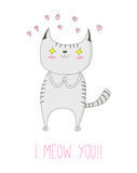 I meow you postcard vector illustration