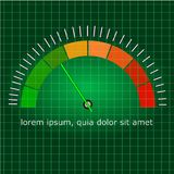 I metri riportano in scala da verde a rosso con la freccia illustrazione di stock
