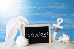 I mezzi di Sunny Summer Card With Danke vi ringraziano Fotografia Stock
