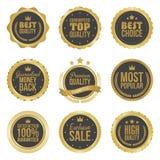 I migliori distintivi premio choice di qualità del metallo dorato messi hanno isolato l'illustrazione Immagine Stock Libera da Diritti